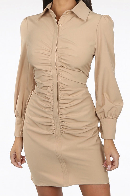 Zinzu Ruched Front Shirt Dress