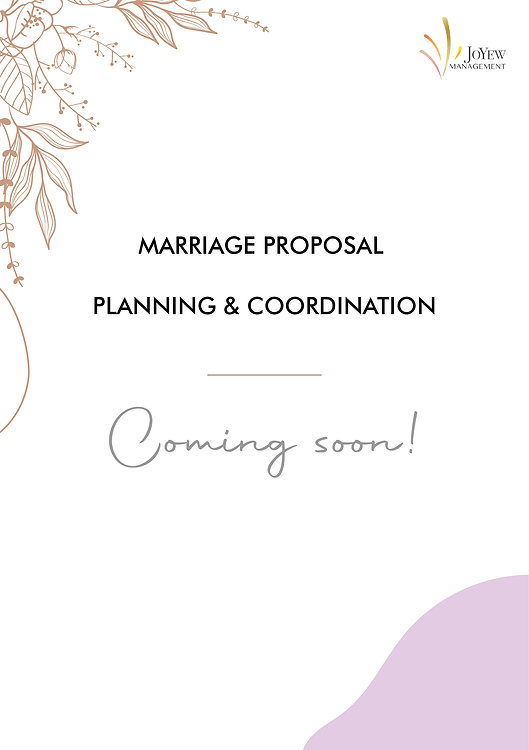 Marriage Proposal Planning&Coordination