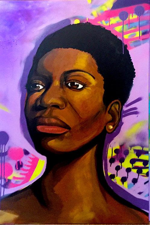 Portrait of Nina Simone - Painting