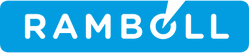 This image is the logo of Ramboll, which is RAMBOLL inside a light blue rectangle. There is a triangle shape cutting into the O.