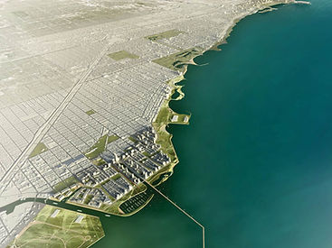 This image is a 3D model of the Chicago Lakeside Development, with the city on the left side and the water on the right.