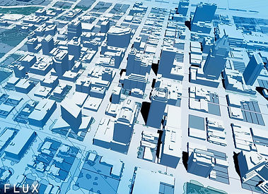 This image is a photo of a 3D model of a city, with the models in light blue.