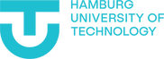 This image is the logo for Hamburg University of Technology. On the left is a light blue T inside a U, on the right side is Hamburg University of Technology in capital light blue text.