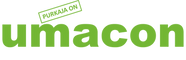 This image is the logo of umacon, which is umacon in green, with PURKAJA ON inside a rectangle with a green outline above the m.