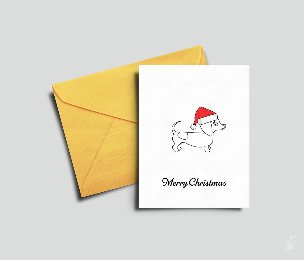 Christmas Card, Dachshund, Oliverosedesigns