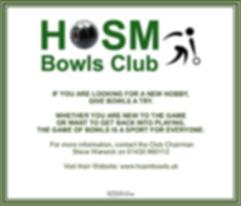 HOSM Bowls Club - RECRUITING - Sep 2019.