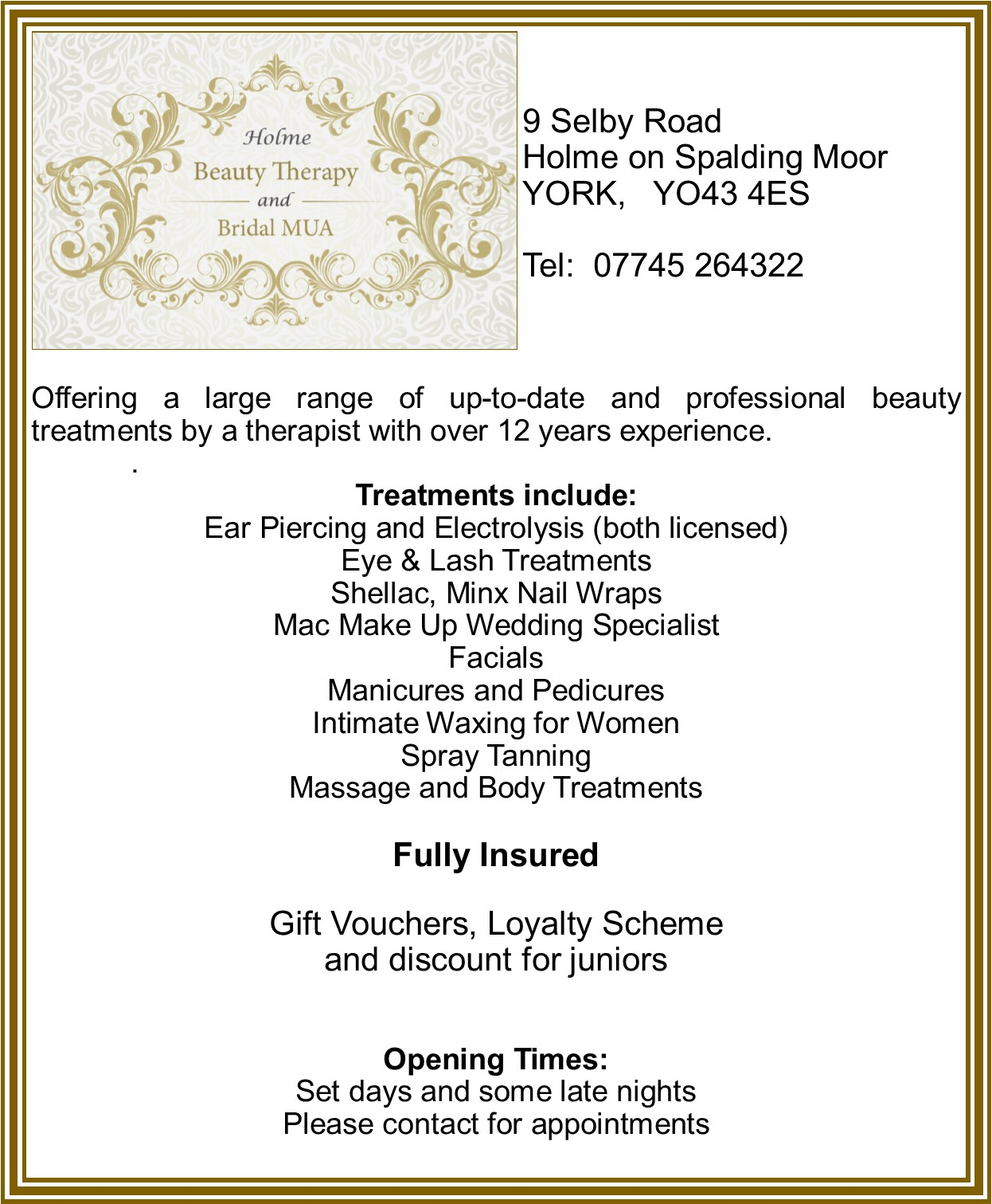 Holme Beauty Therapy and Bridal MUA