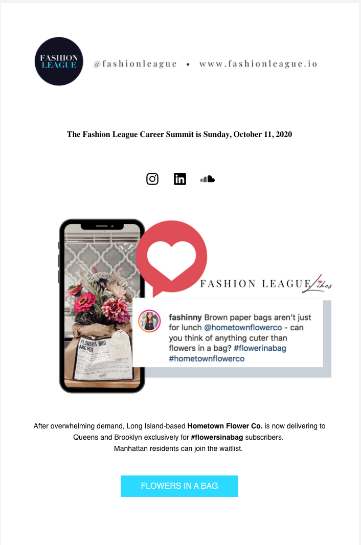 SEPTEMBER 18 2020 FASHION LEAGUE NEWSLET