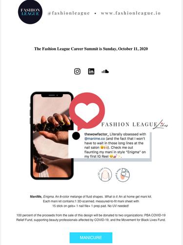 SEPTEMBER 12 2020 FASHION LEAGUE NEWSLET