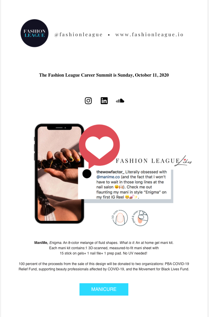 SEPTEMBER 12 2020 FASHION LEAGUE NEWSLET