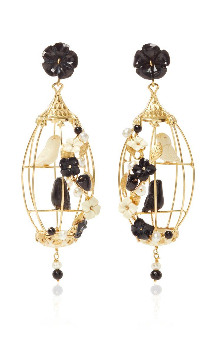 Black And White Lovebird Earring