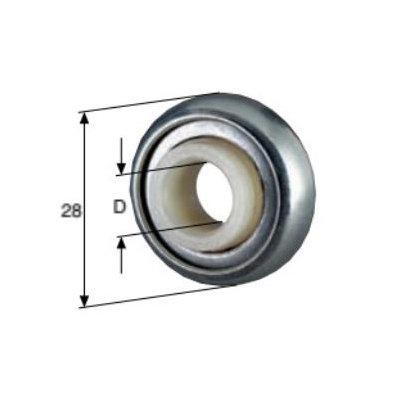Kogellager Ø 28 nylon binnenring boord 2 mm