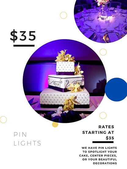 Light up your cake or center pieces. Pin lights for Lakeland, Tampa, Orlando areas