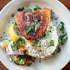 Lemon-Pepper Salmon Rice Plate