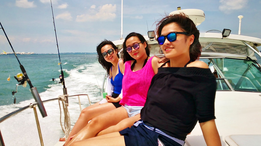 Lady anglers on fishing yacht
