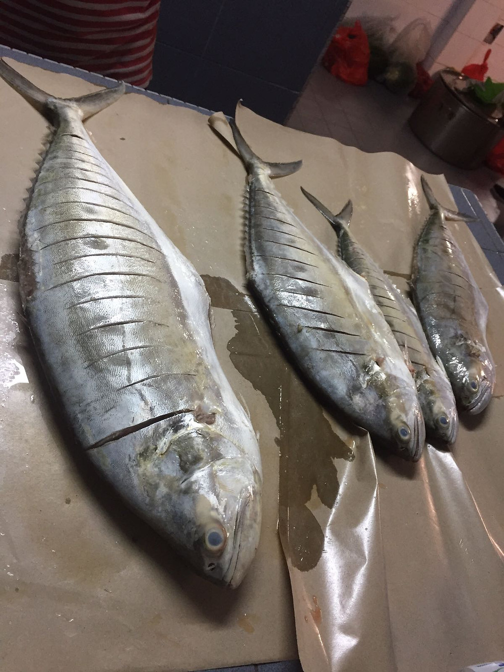preparing queenfish for barbecue