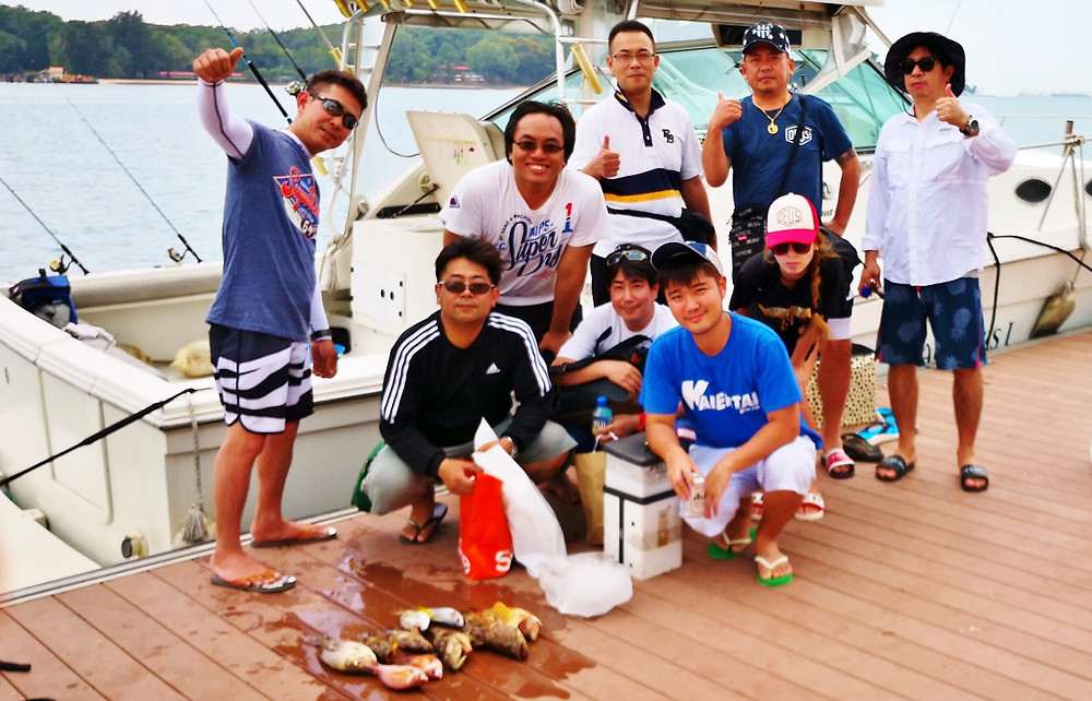 happy anglers on Lazarus island