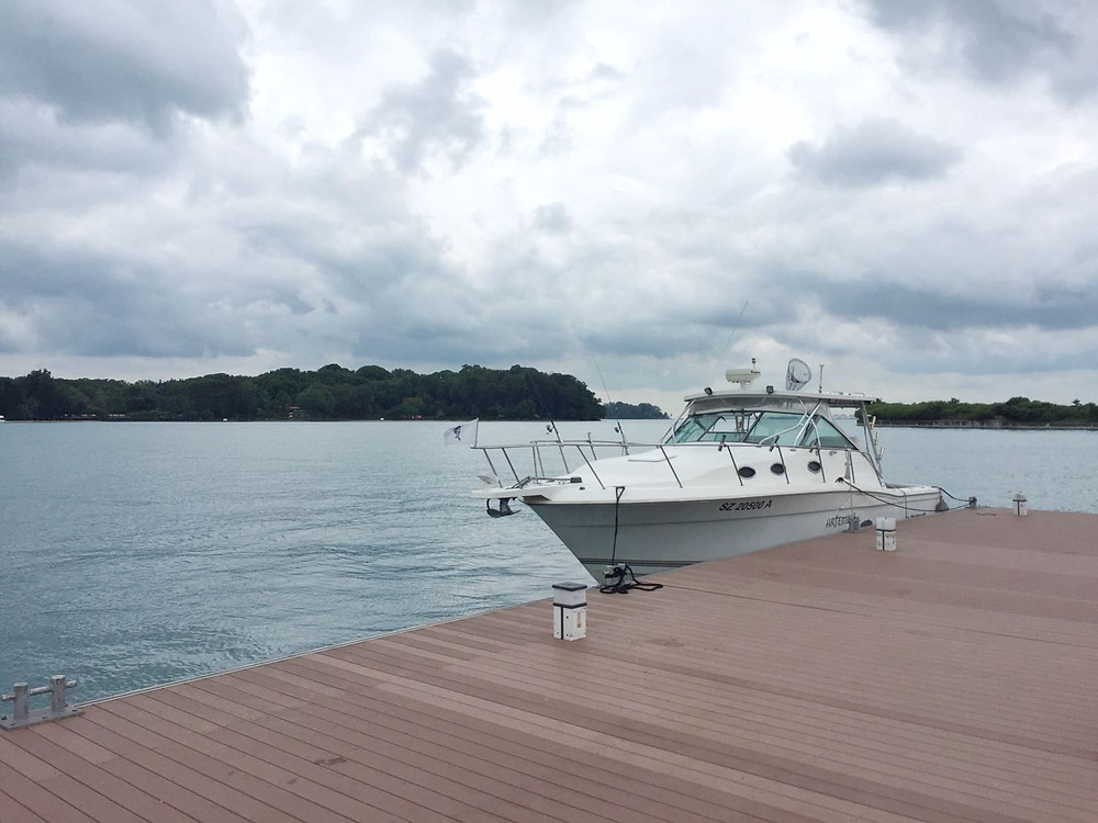 Yacht berthed at Lazarus Island