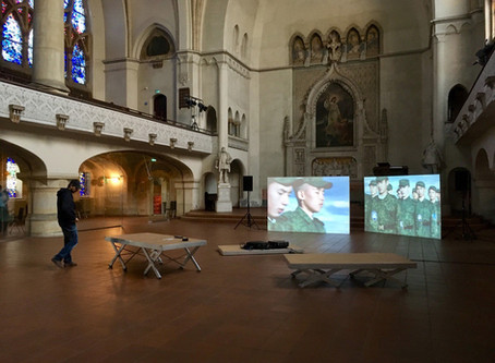 "Installing the two-channel video  ""Laws of Time"" for the exhibition at KulturRaum Zwingli-Kirche"