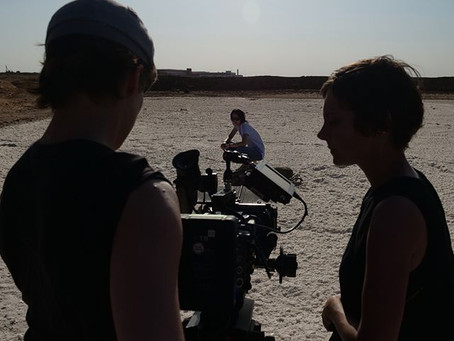 on the set of Time Keeper