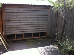 Removed Rotted Pilings On Shed