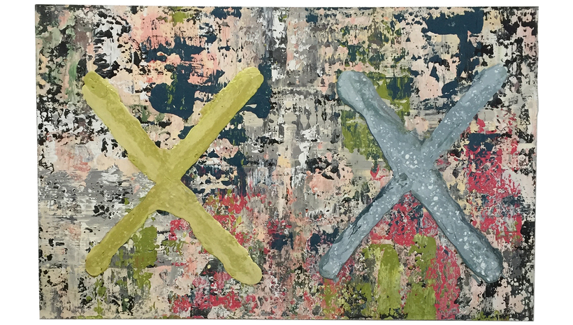 """XX, 2015, Acrylic, lacquer and plaster on panel , 68"""" X 48"""""""
