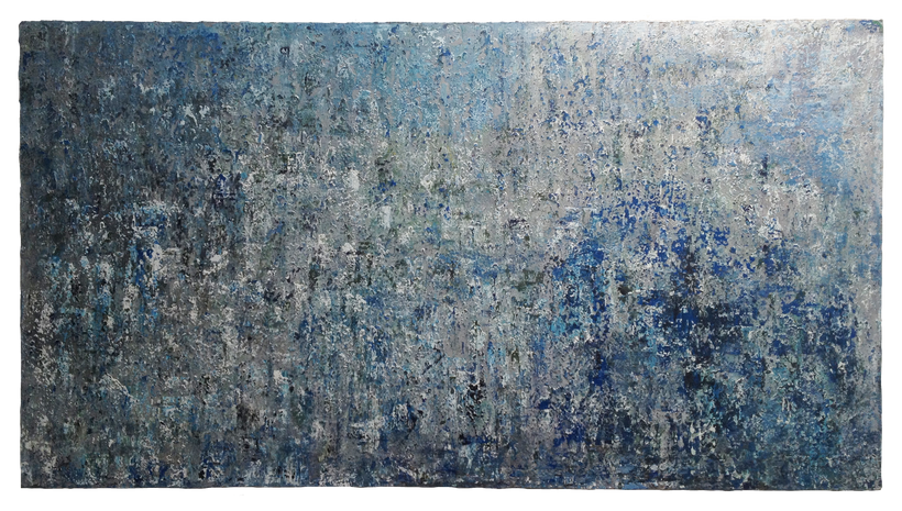 "BLUE FALLS, 2014, Mixed media on canvas, 66"" X 120"""