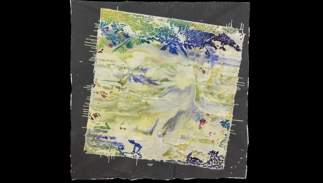 """KYOTO SUNRISE, 2019, Acrylic, enamel and adhesives on PVC, 70"""" X 70"""""""