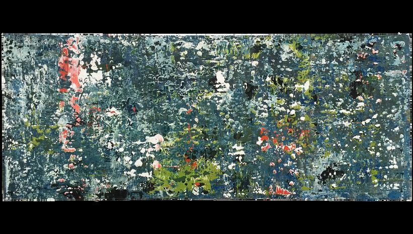 "MOSS POND, 2015, Acrylic and caulking on panel, 32"" X 68"""