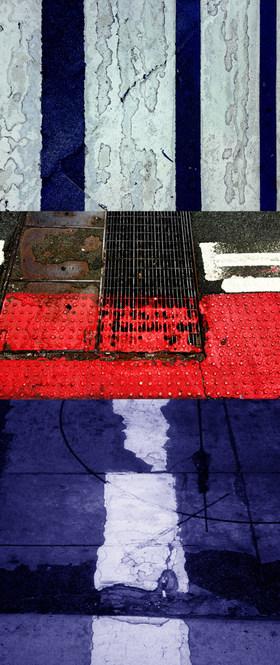 """URBAN FRAGMENT RED, 2020 Inkjet on Aluminum, 53"""" x 22"""""""