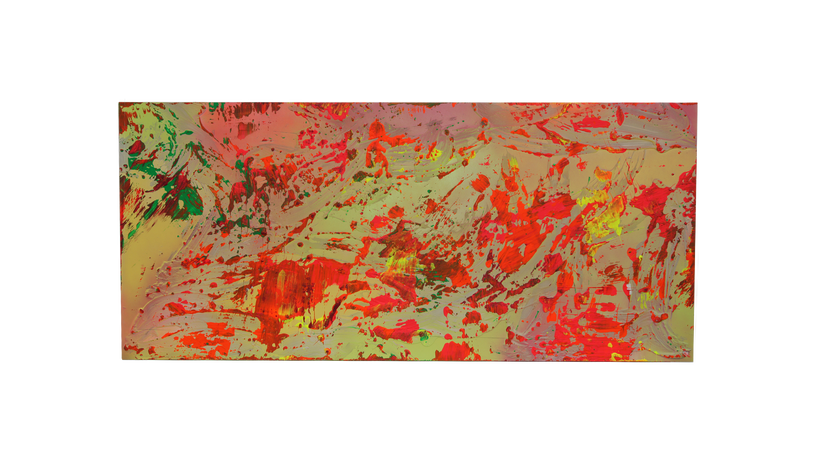 """INFERNO, 2016, Acrylic, lacquer and caulking on panel, 36"""" X 70"""""""