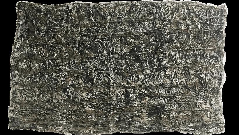 "EIGER, 2019, Acrylic, enamel and adhesives on PVC, 69"" X 106"""