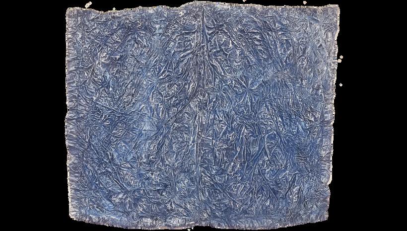 "BLUE SPINE, 2019, Acrylic, enamel and adhesives on PVC, 50"" x 63"""