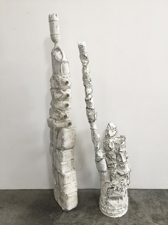 """STACKED BABY & DANCE FEVER, 2020, mixed media, 73"""" x 9"""" x 12"""", 64"""" x 29"""" x 14"""""""