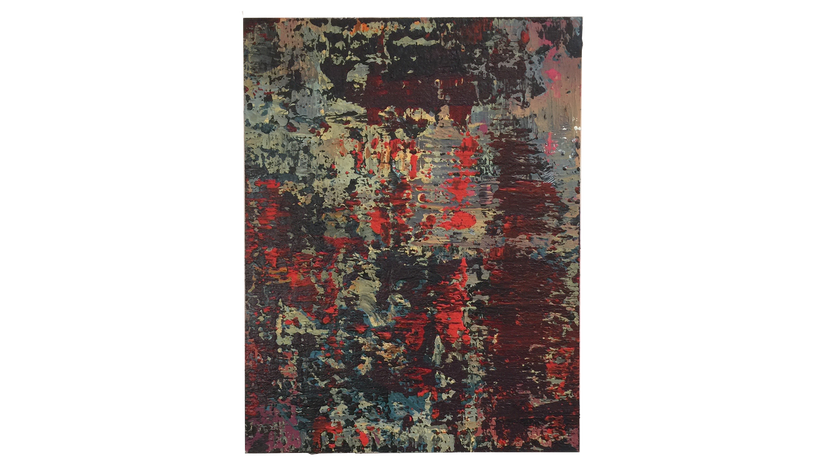 """SHIMMER, 2016, Acrylic and lacquer on canvas, 48"""" X 36"""
