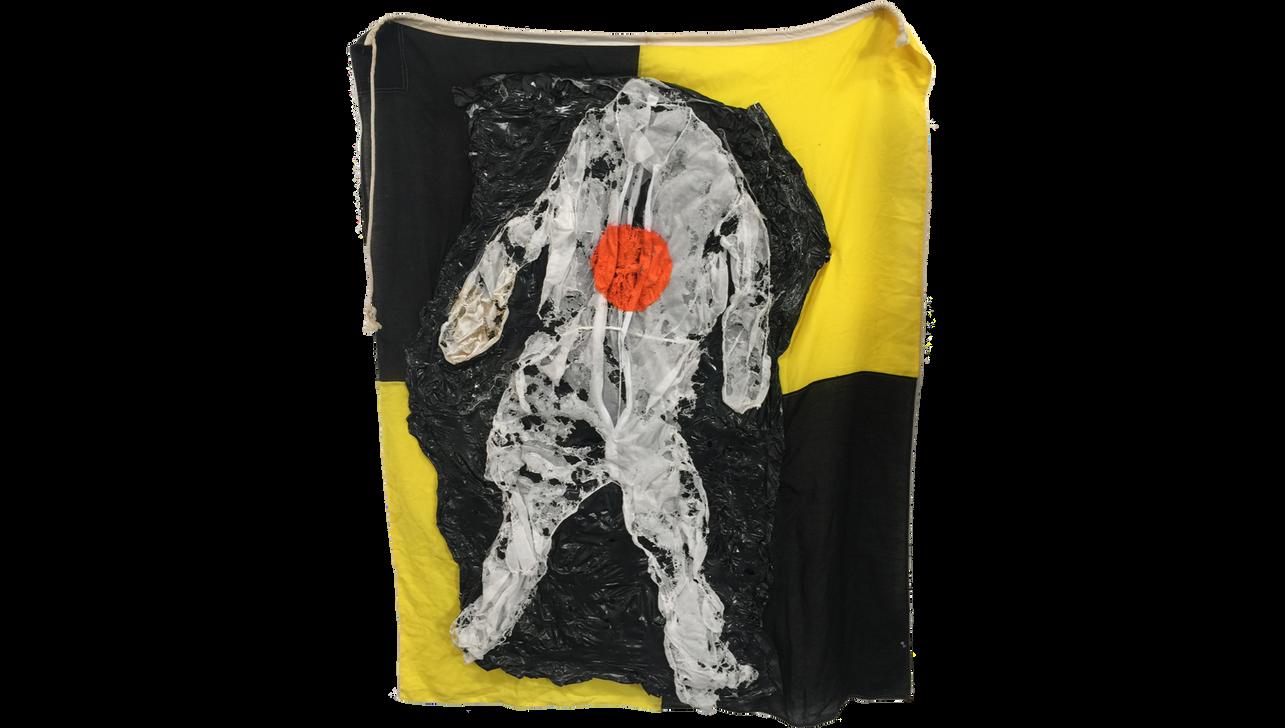 CV19, 2020, Enamel, fabric and polyvinylchloride sheet on cotton flag