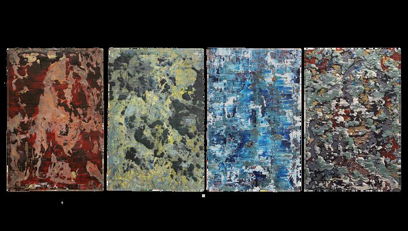 "SEDONA SOMEWHERE, MOSS POINT, ICE FLOW, BEIJING, Acrylic on canvas, 2014, 36"" X 24"""
