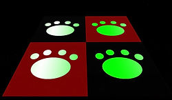 Black and Red Neko Paw Print Dance Floor