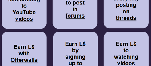 Earn Free Lindens L$ by doing tasks and earning an income for your Second Life game play