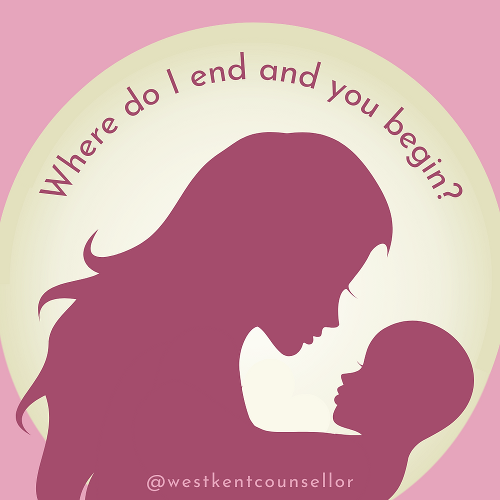 """Silhouette of mother looking at her child thinking """"Where do I end and you begin?"""""""