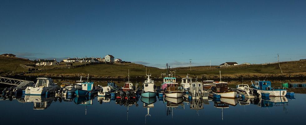 Boats marina Bridge end Shetland