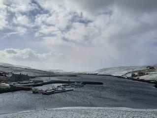 Spring snow in Shetland