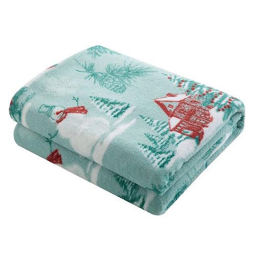 Plush Throw Blanket-Teal Winter Themed