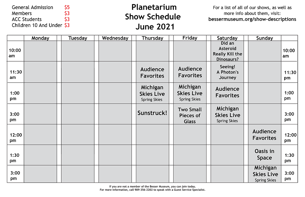 6 Planetarium Show Sign for Museum June.
