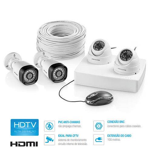 Kit de Segurança CFTV 2 Câmeras Bullet + 2 Câmeras Dome + 1 DVR AHD + Cabo 100m