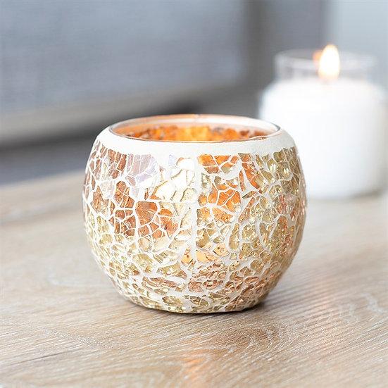 Gold Crackle Glass Candle Holder 金色碎紋玻璃蠟燭座