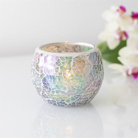Blue Iridescent Crackle Glass Candle Holder 彩藍色碎紋玻璃蠟燭座