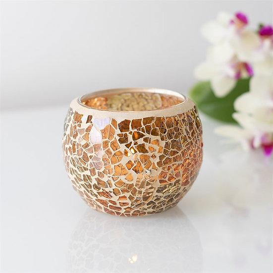 Brown Crackle Glass Candle Holder 啡色碎紋玻璃蠟燭座