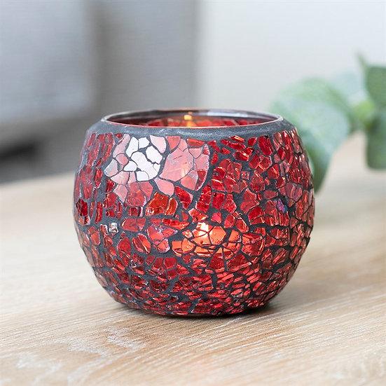 Red Crackle Glass Candle Holder 紅色碎紋玻璃蠟燭座