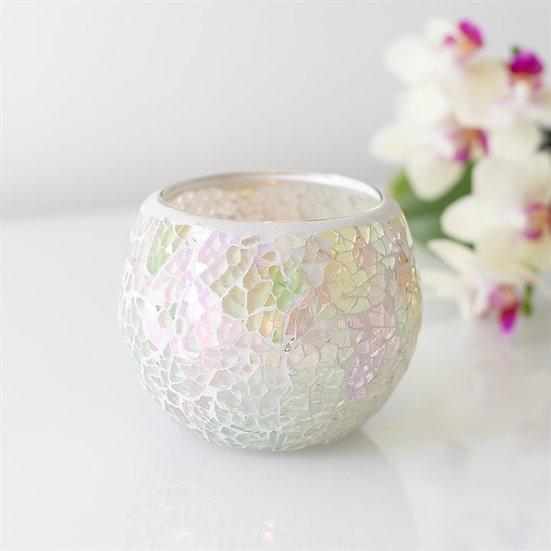 White Iridescent Crackle Glass Candle Holder 彩白色碎紋玻璃蠟燭座